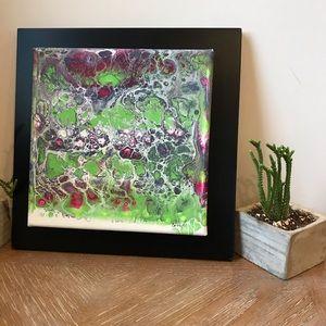 Green & pink original abstract artwork framed